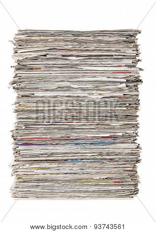 A Stack Of Newspapers On A White Background