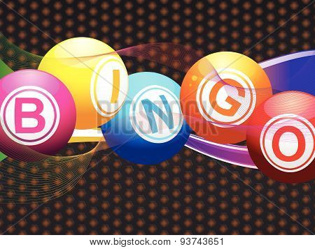 Bingo Balls And Neon Waves On Metallic Background