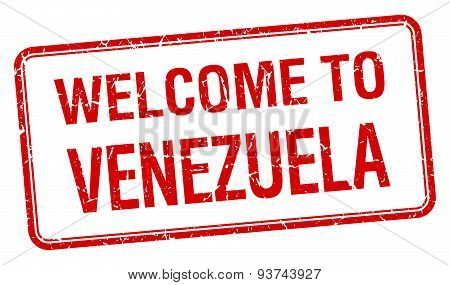 Welcome To Venezuela Red Grunge Square Stamp