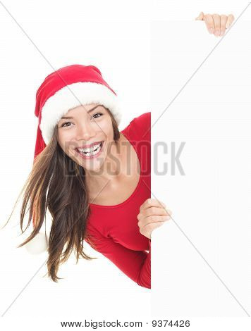 Christmas Woman Showing Sign Banner