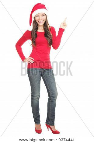 Christmas Woman Pointing At Copy Space Standing