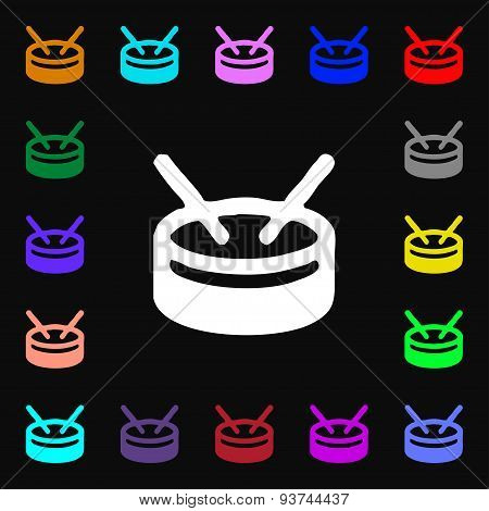 Drum Icon Sign. Lots Of Colorful Symbols For Your Design. Vector