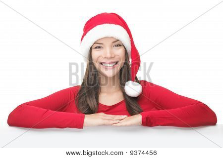 Santa Christmas Woman Leaning On Sign Billboard