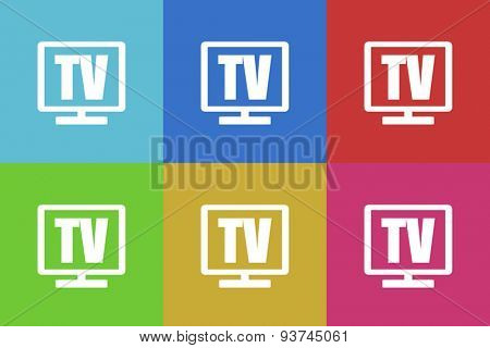 tv flat design modern vector icons set for web and mobile app