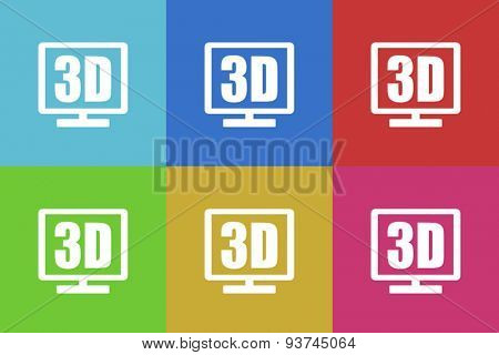 3d display flat design modern vector icons set for web and mobile app