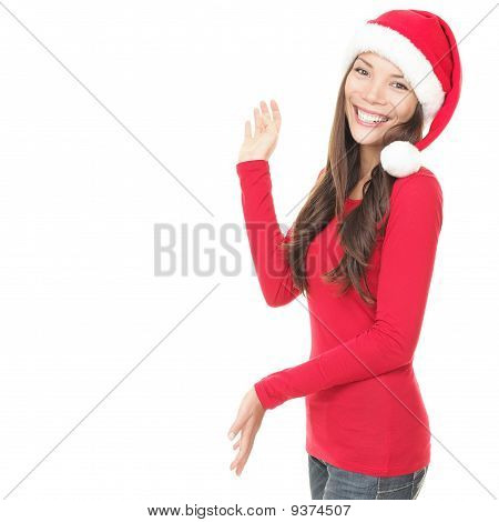 Christmas Woman Presenting Isolated