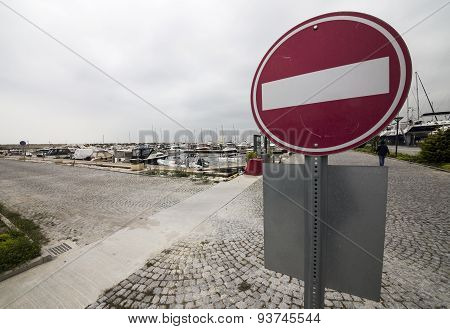 Traffic Sign In West Istanbul Marina.