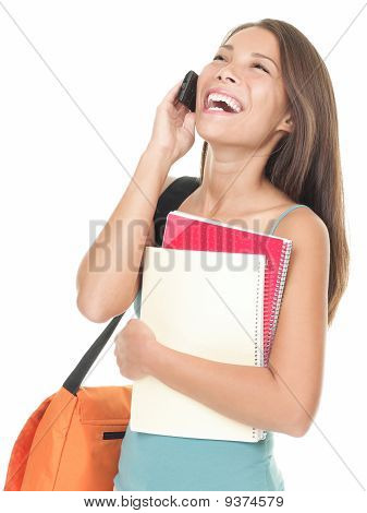 University Student Laughing On The Phone