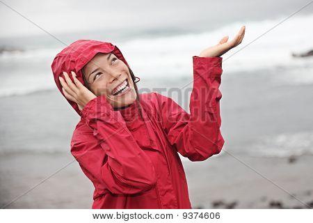 Rain Woman Smiling