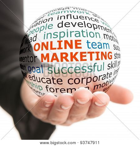Sphere in hand with inscription online marketing