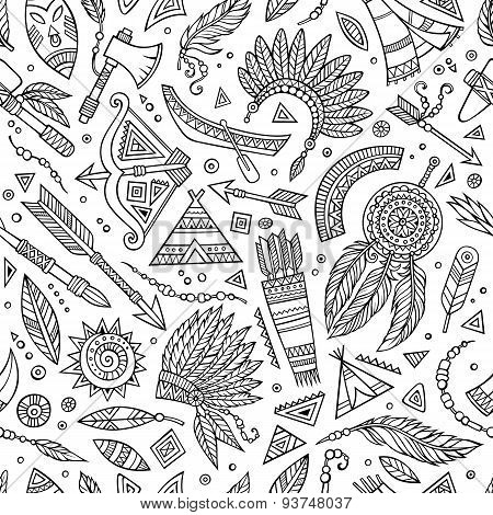 Tribal native ethnic seamless pattern