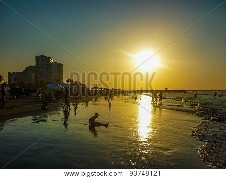 Sunset At The Beach In Cartagena Colombia