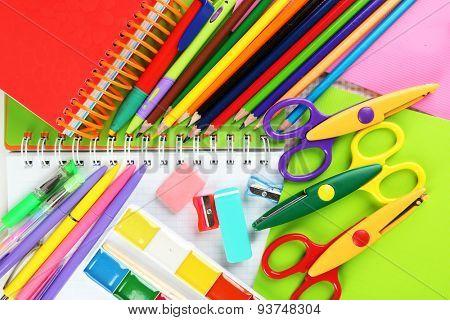 School stationery close-up background
