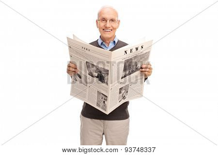 Senior gentleman holding a newspaper. The newspaper is custom made, the text is Latin and the pictures are my copyright. You can find them and the necessary Model Releases attached to the photograph.