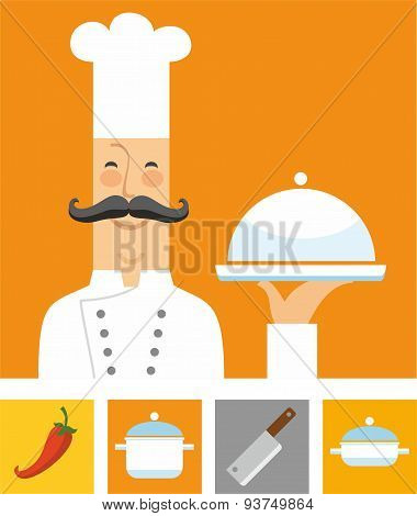 Chef, Orange And Colored Flat...