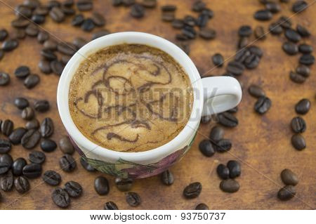 Artisan Coffee On A Brown Wooden Table