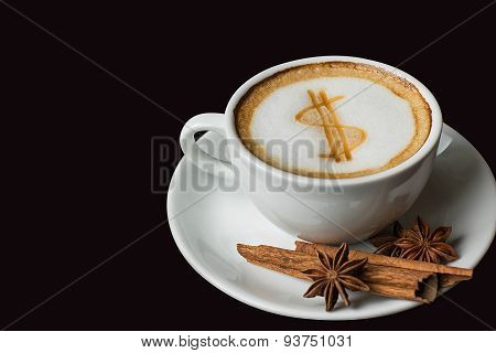 Dollar Sign On Latte Art Coffee Cup