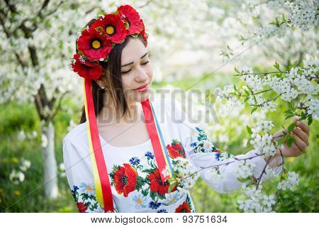 Girl In National Dress Among Flowering Branches
