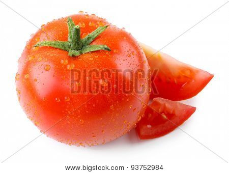 Fresh tomato with droplets isolated on white