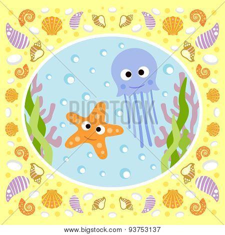 Sea background with jellyfish and starfish