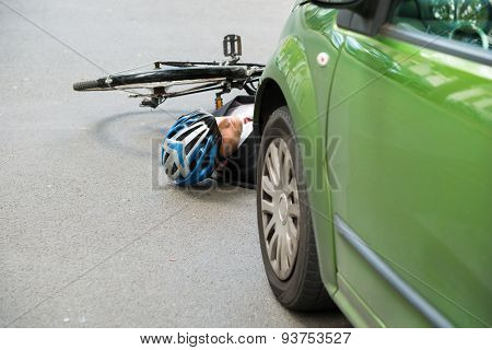 Male Cyclist After Road Accident
