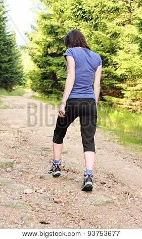 Photo Of Woman Hiking Up A Mountain Trail