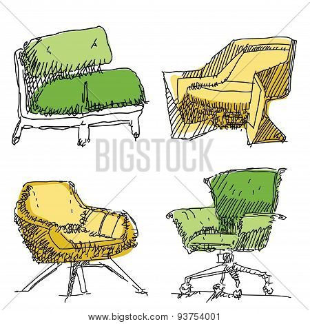 Contemporary furniture doodles.