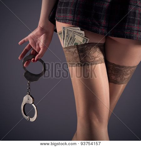 Girl In Stockings With Handcuffs