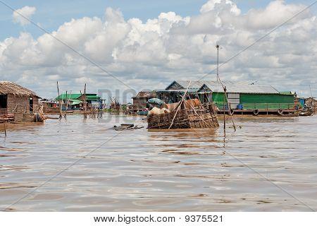 Fishing Village On Tonle Sap Lake