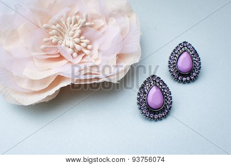 Purple wedding earrings