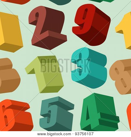 3d numbers colors seamless pattern. Vector background