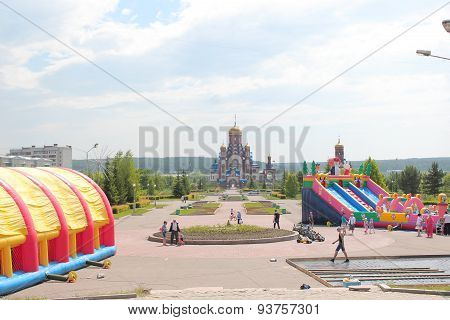 Central square with a Church in the city of Zelenogorsk