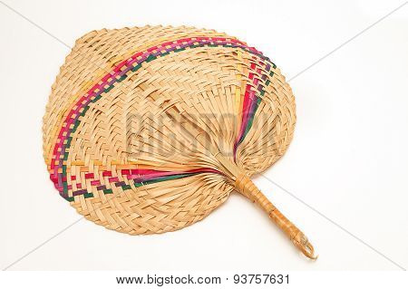 Fan Made From Palm Leaves On White Background
