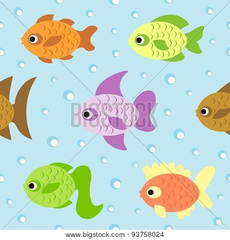 Background seamless with fish