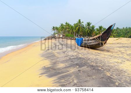 Fishing  Boat On Tropical Beach