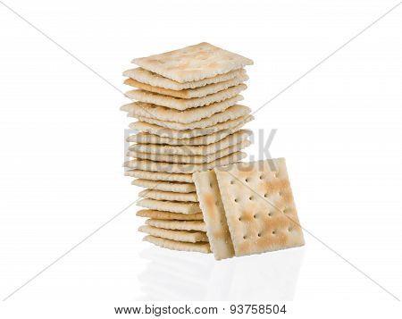 Soda Crackers Single Stack Isolated On White Background