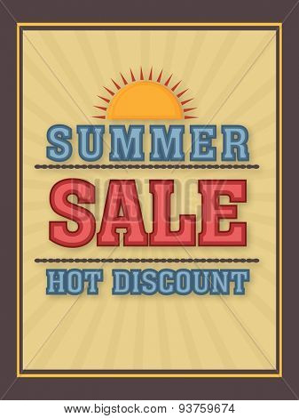 Summer Sale poster, banner or flyer design with hot discount offer.