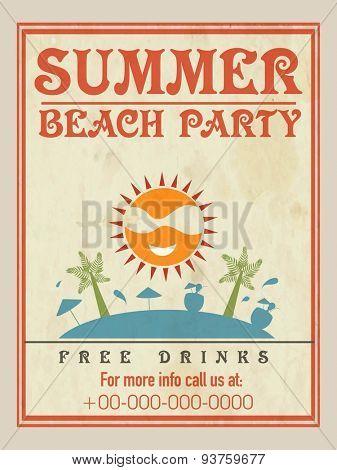 Summer Sale poster, banner or flyer design with hot discount offer.
