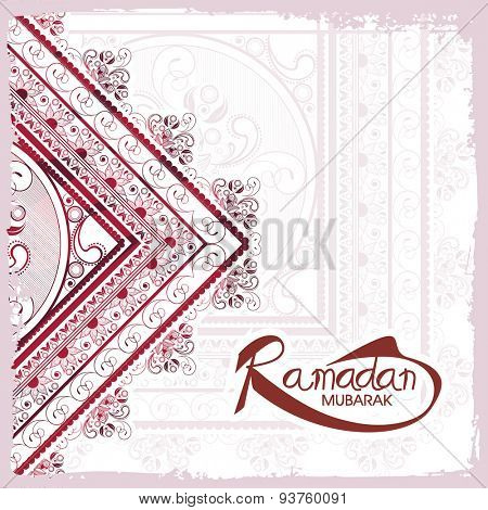 Beautiful floral design decorated greeting card for holy month of Muslim community, Ramadan Kareem celebration.