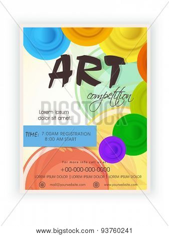 Stylish Art Competition template, banner or flyer design with details on colorful background.