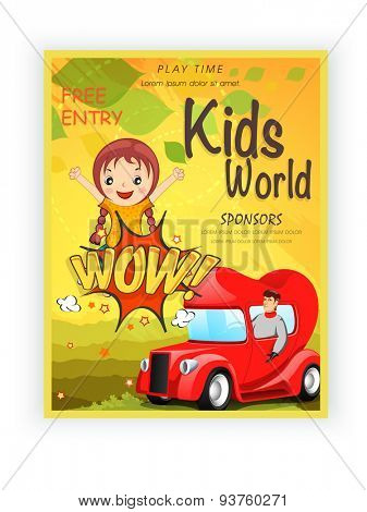 Kids World template, banner or flyer design with illustration of little girl on yellow background.