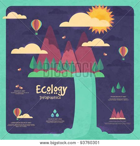 Stylish ecological infographic template with illustration of river coming out from mountains.
