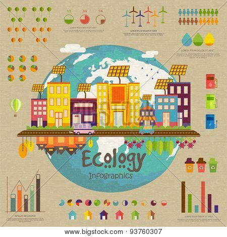Creative ecology infographic template layout with view of a urban city and various statistical elements.