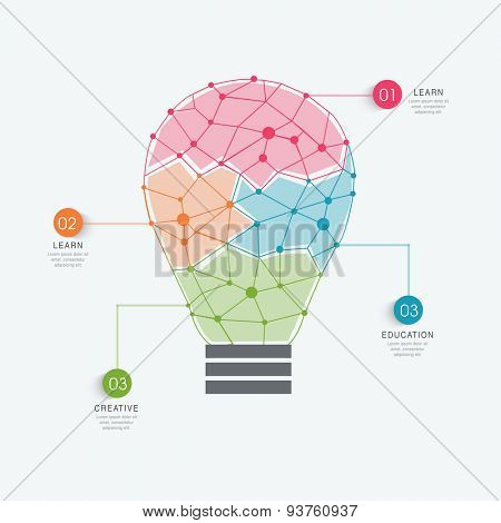 Creative illustration of a light bulb infographic with different colors to present data for Idea concept.