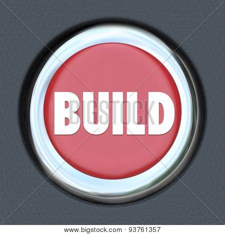 Build red round button as start or ignition to develop, construct, create, invent or imagine development of a building or technology platform