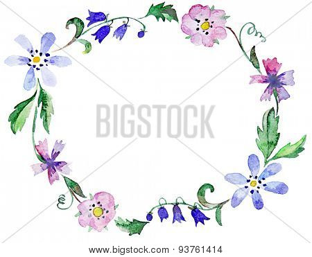 Floral watercolor wreath or frame