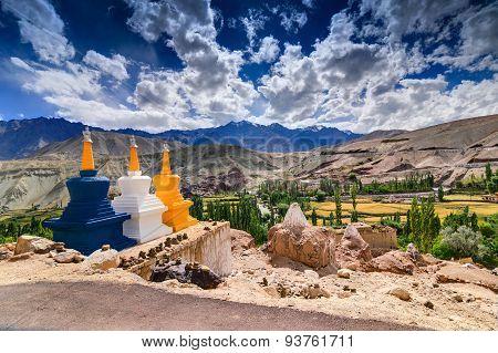 Three Buddhist Stupas At Leh, Ladakh, Jammu And Kashmir, India