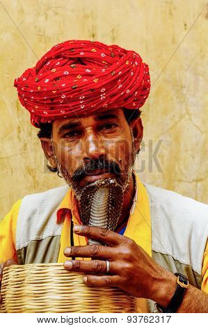 Snake Charmer Kissing Snake In India