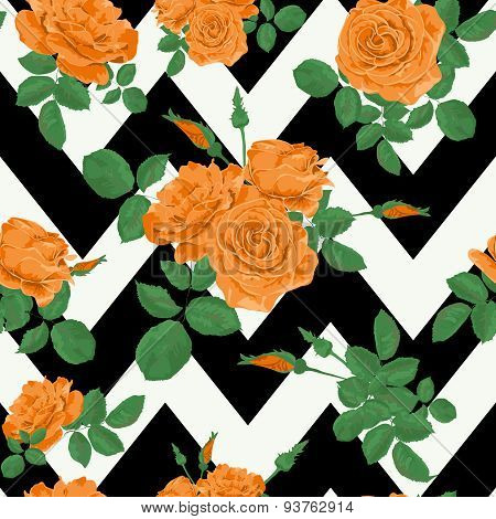 Seamless Flower Orange Roses Pattern With Horizontal Zig Zag