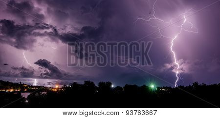 Thunderstorm with lightning bolts on the Thai island